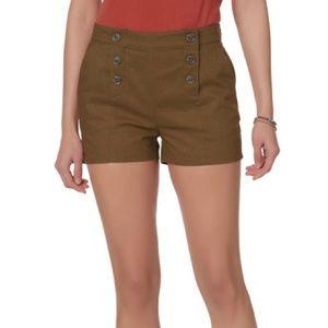 Olive Sailor Linen Shorts High Rise XXL